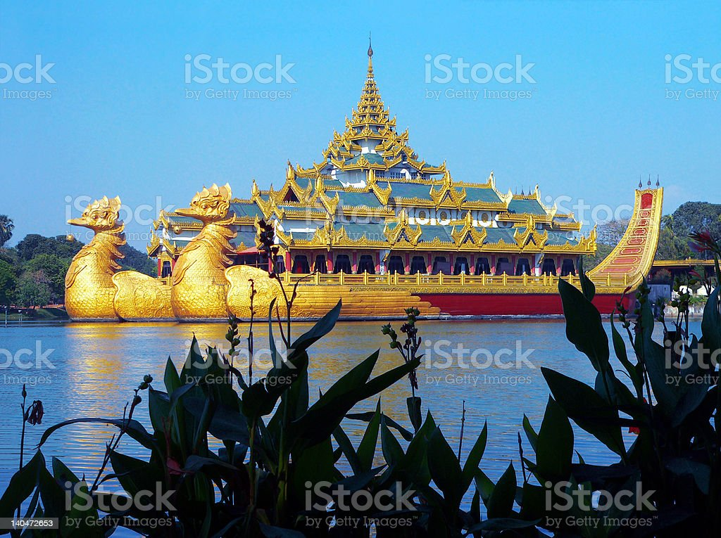 Burma (Myanmar) Karaweik Palace, Yangon stock photo