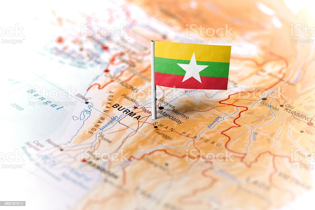 Burma pinned on the map with flag stock photo