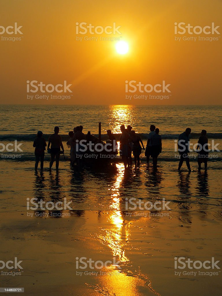Burma (Myanmar) Sunset Fishing Team royalty-free stock photo