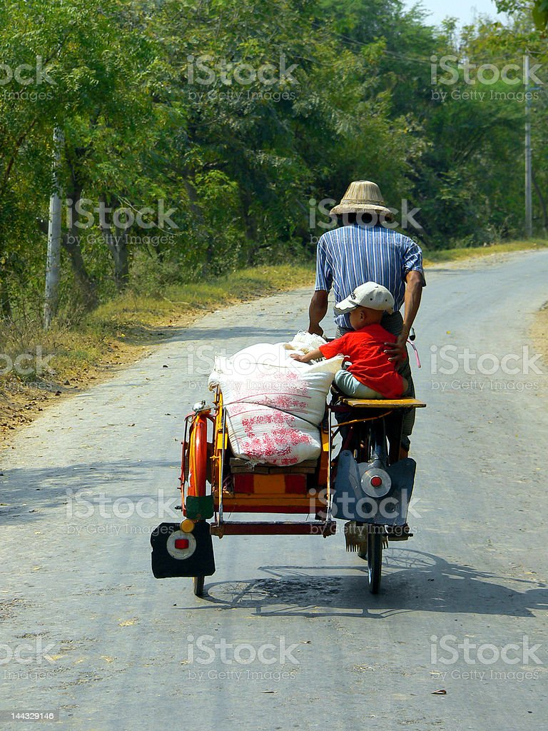 Burma (Myanmar). Young Trishaw Assistant royalty-free stock photo