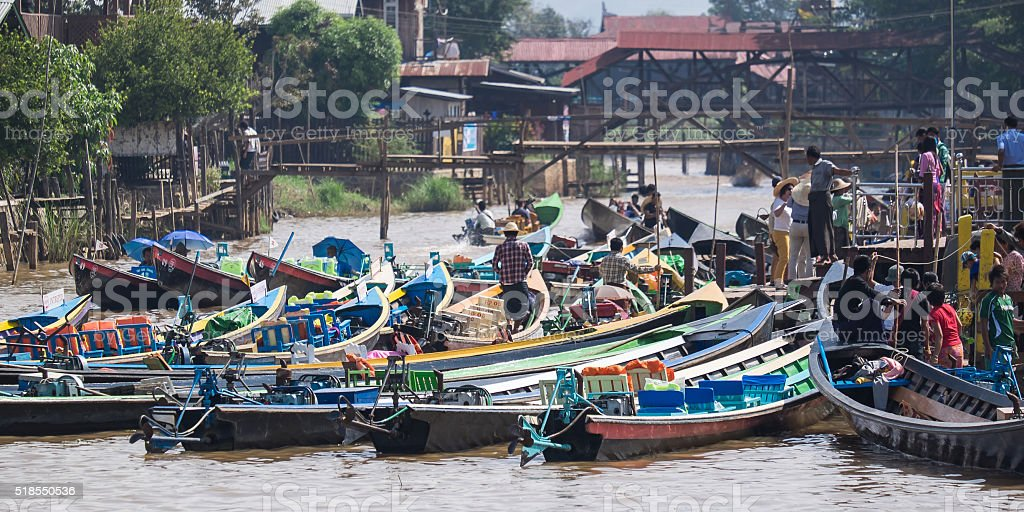 Burmese daily boat trips stock photo