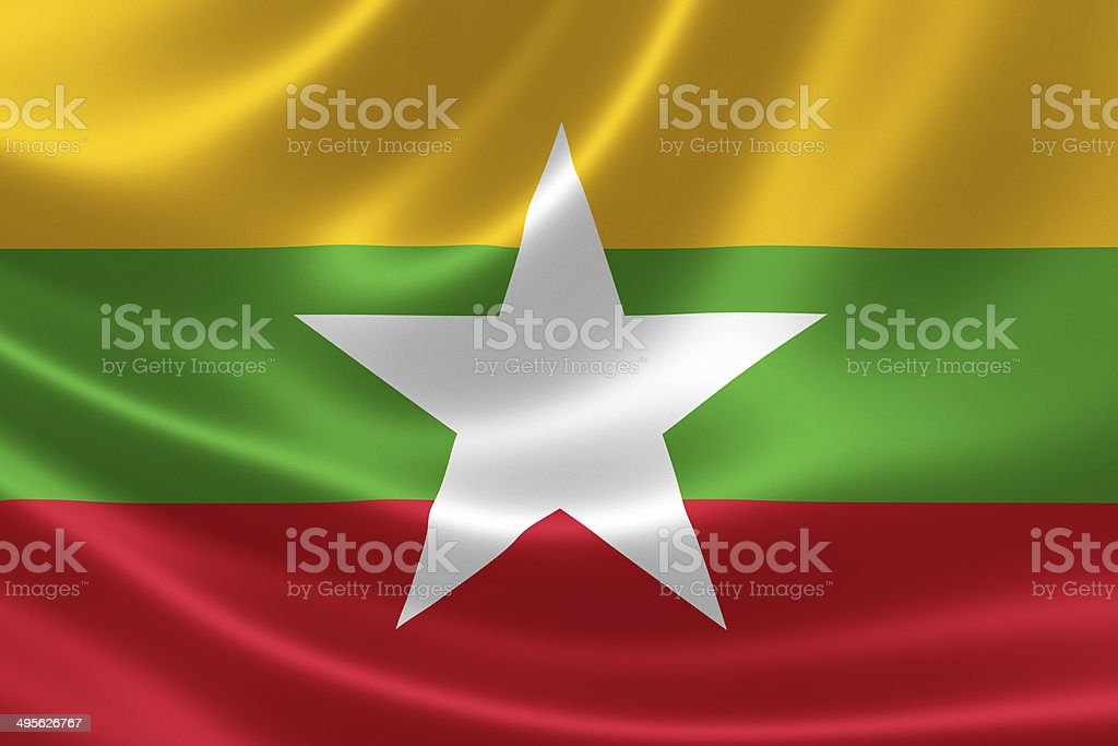 Burmese (Myanmar) Flag Close Up stock photo