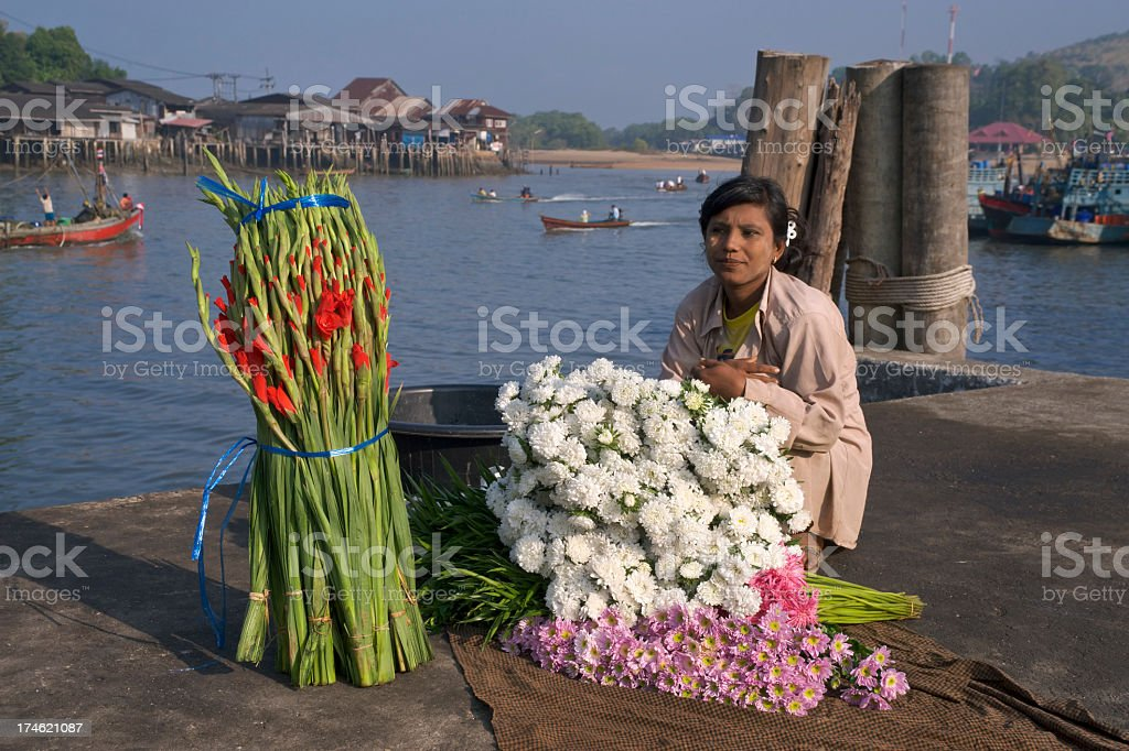 Burmese Flower Seller royalty-free stock photo