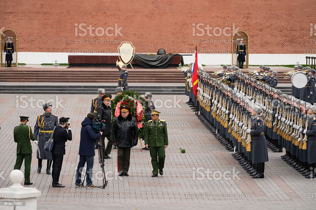 Burmese General inspects Russian soldiers on Parade stock photo