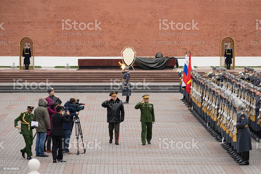 Burmese General salutes Russian Troops at the Kremlin stock photo