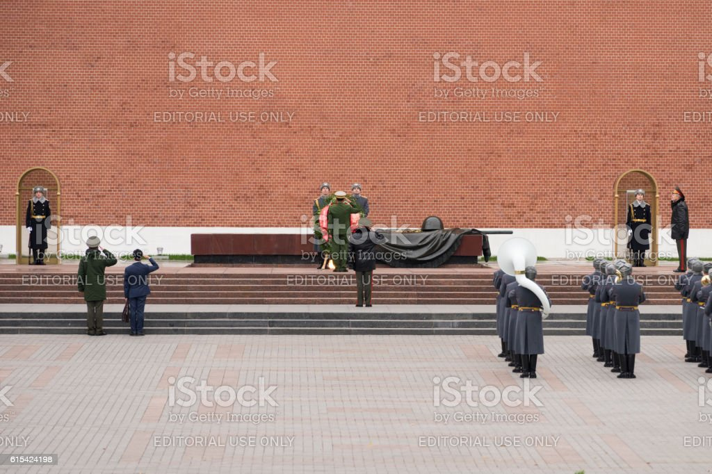 Burmese General salutes the Tomb of the Unknown Soldier stock photo
