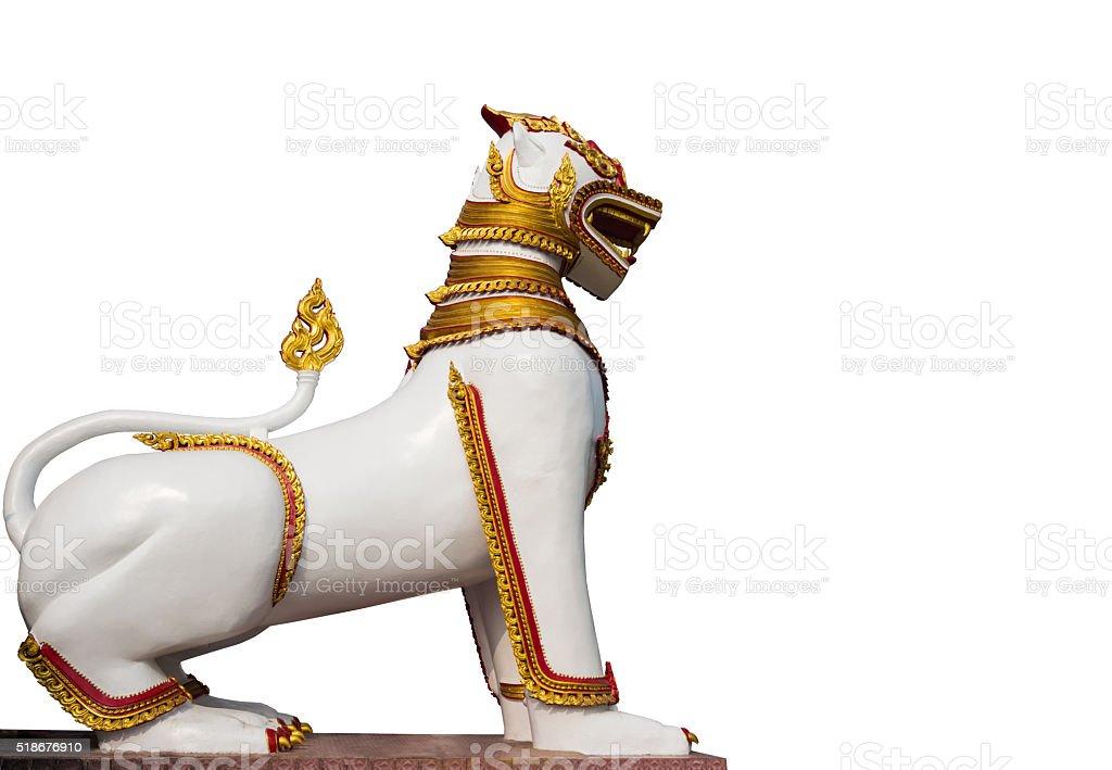 Burmese lion statue on white background stock photo