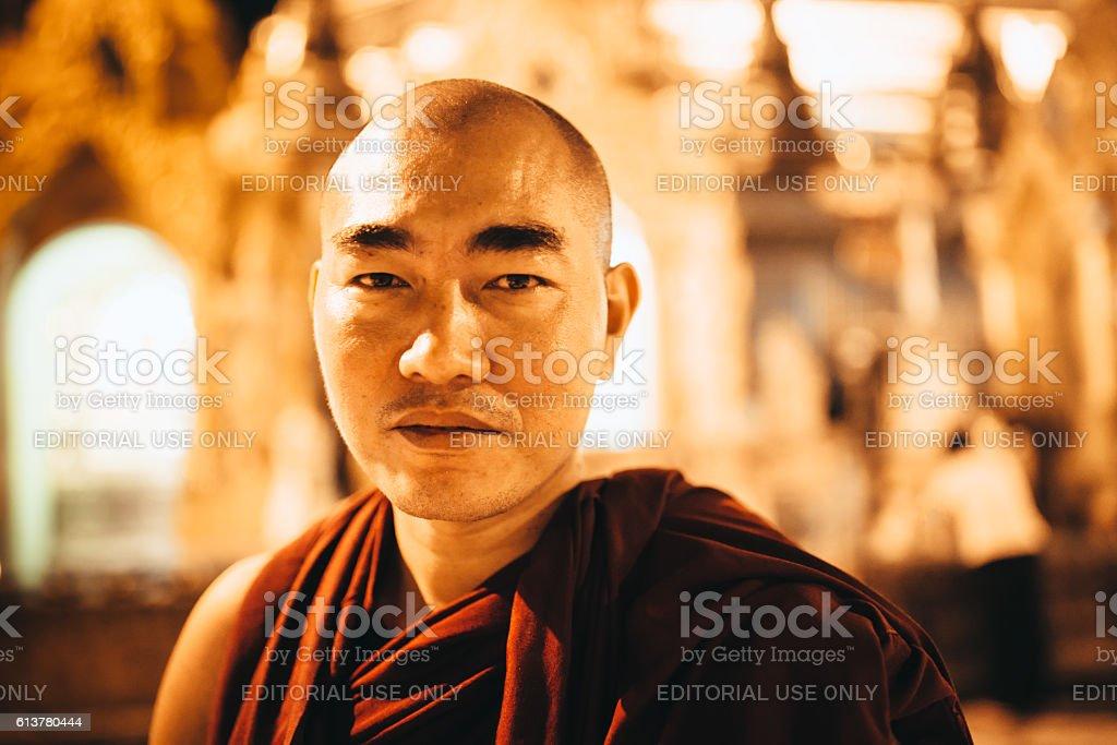 Burmese Monk Shwedagon Pagoda Myanmar Portrait stock photo