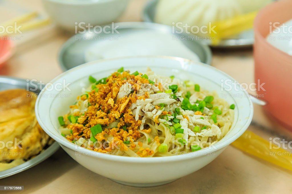 Burmese noodle with chicken stock photo