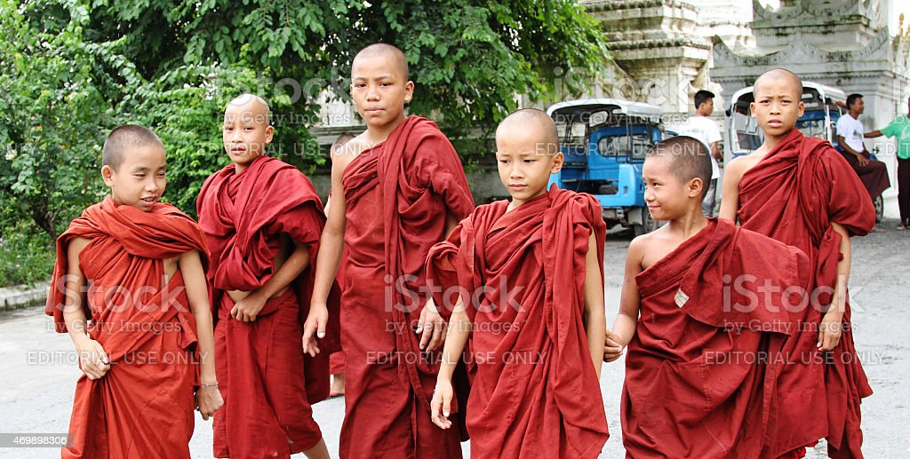 Burmese novice boys in Mandalay stock photo