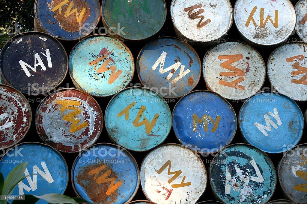 Burmese Oil Drums stock photo