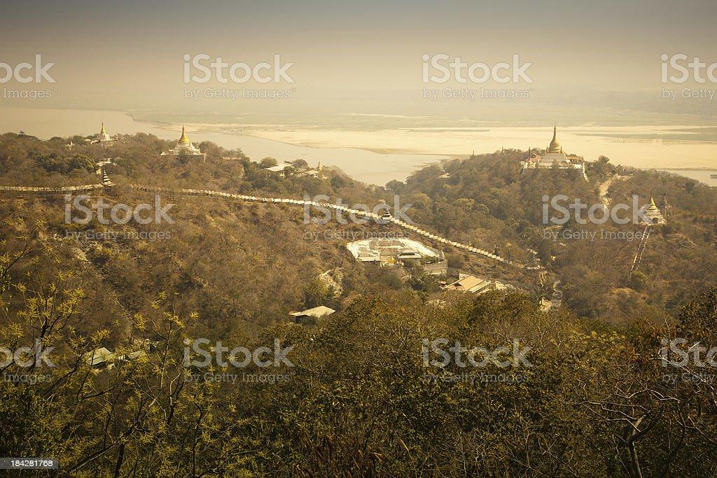 Burmese pagoda hill landscape stock photo