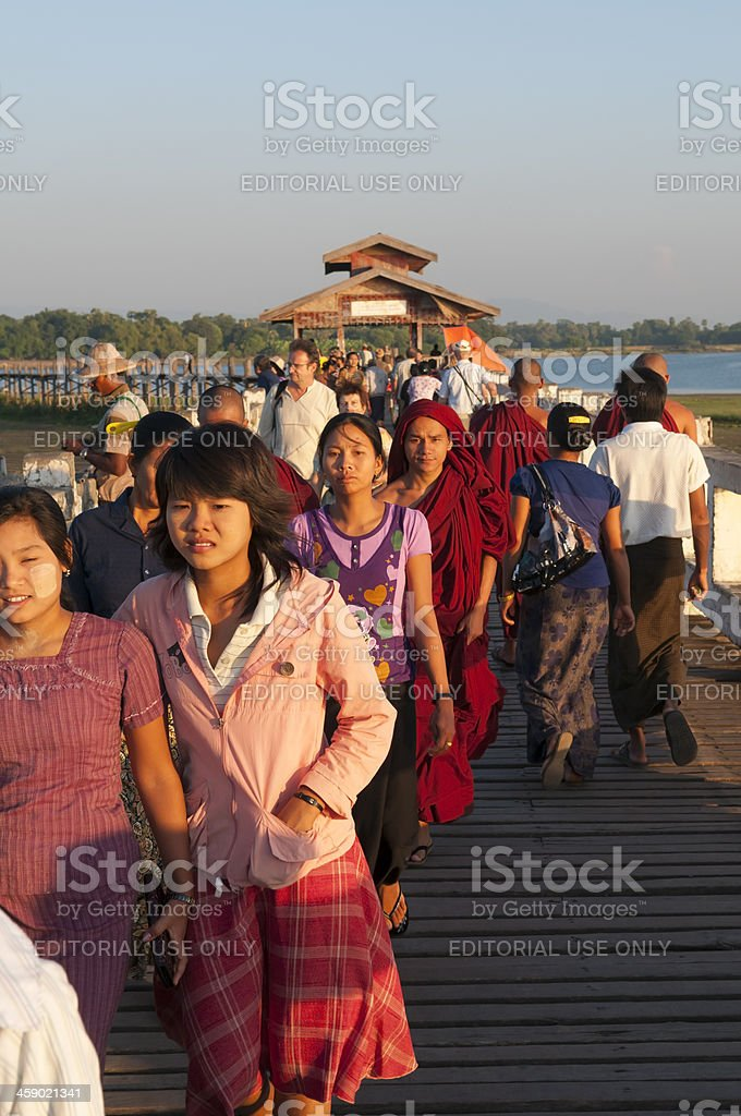 Burmese people and tourists royalty-free stock photo