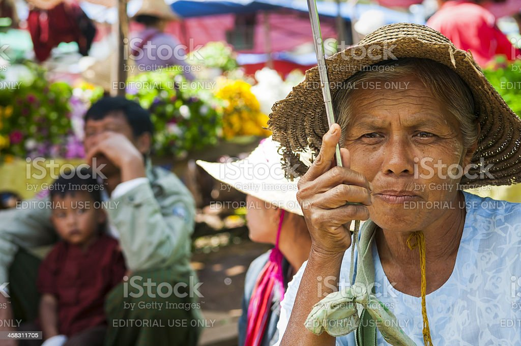 Burmese people at Kalaw market stock photo