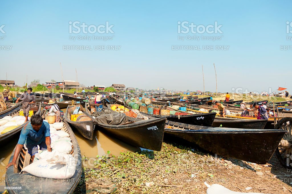 Burmese people trading at an floating market stock photo