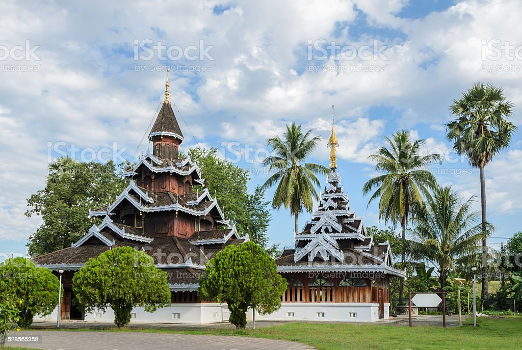 Burmese Shan style wooden temple in Thailand stock photo