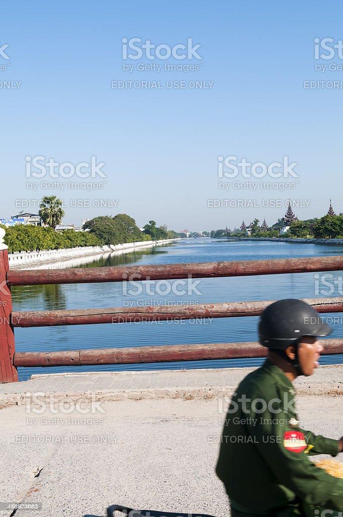 Burmese soldier at Mandalay Palace royalty-free stock photo