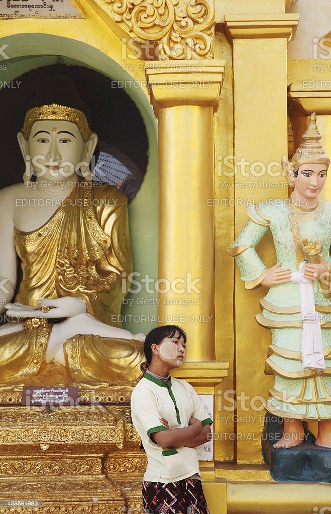 Burmese Woman at Shwedagon Pagoda in Yangon royalty-free stock photo