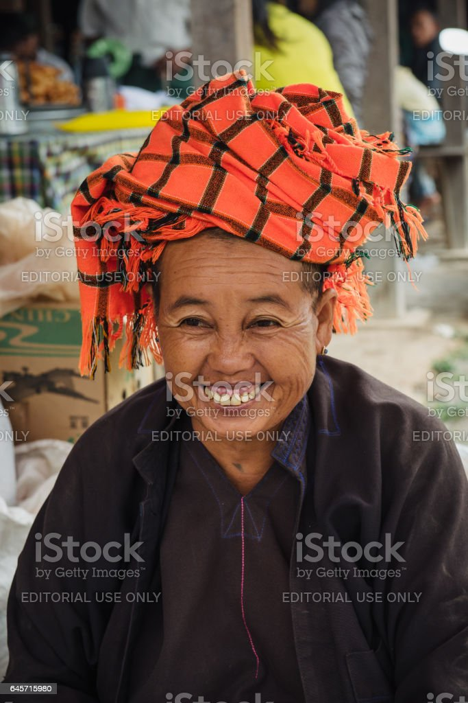 Burmese woman selling tea stock photo