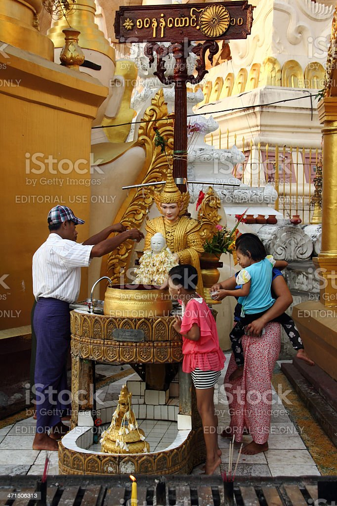 Burmese worshippers in Shwedagon pagoda, yangon royalty-free stock photo