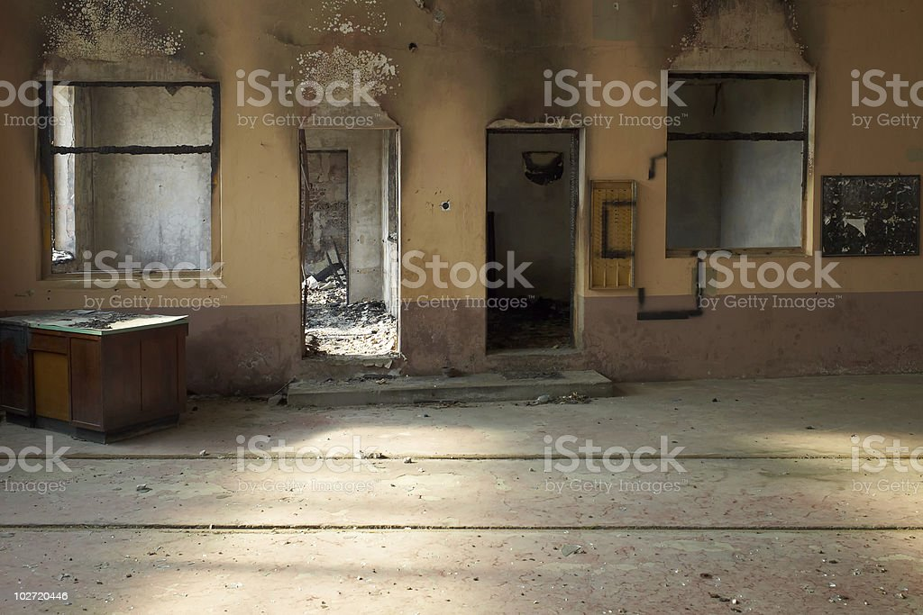 Burn out room stock photo