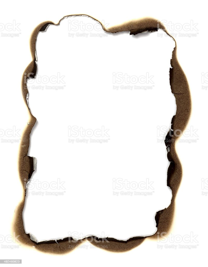 burn paper frame background stock photo