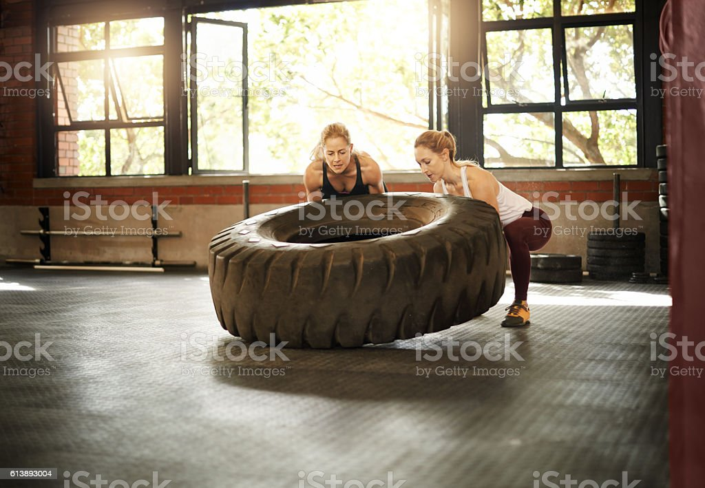 Burn rubber and build muscles stock photo