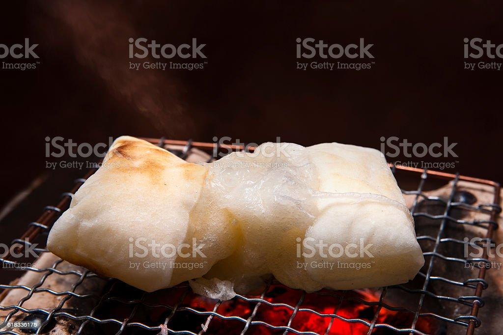 Burn the rice cake stock photo