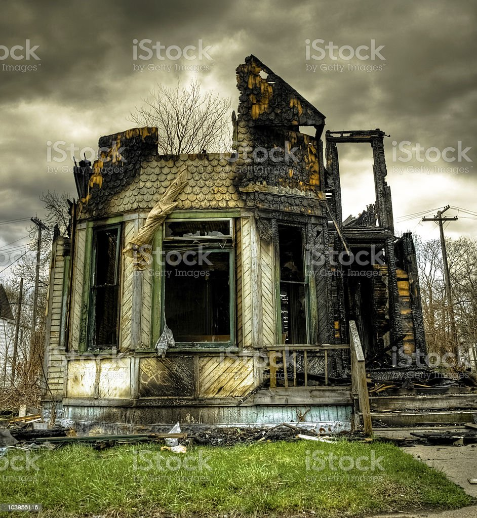 Burned Abandoned and Derelict House stock photo