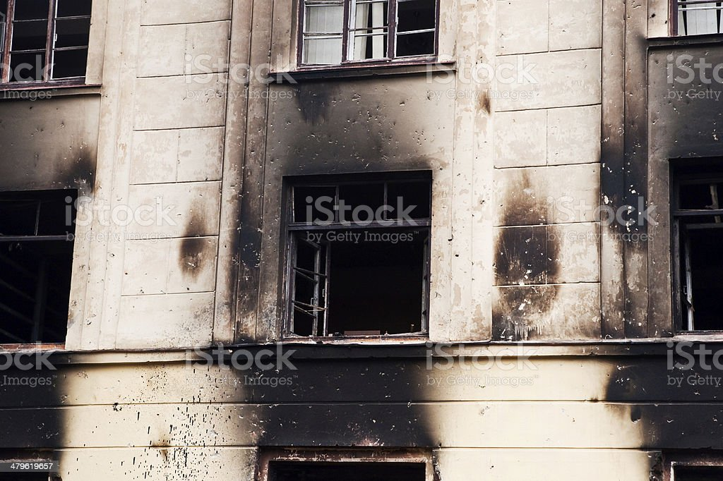 burned barracks stock photo