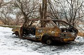 Burned car after a fire happened in winter park.