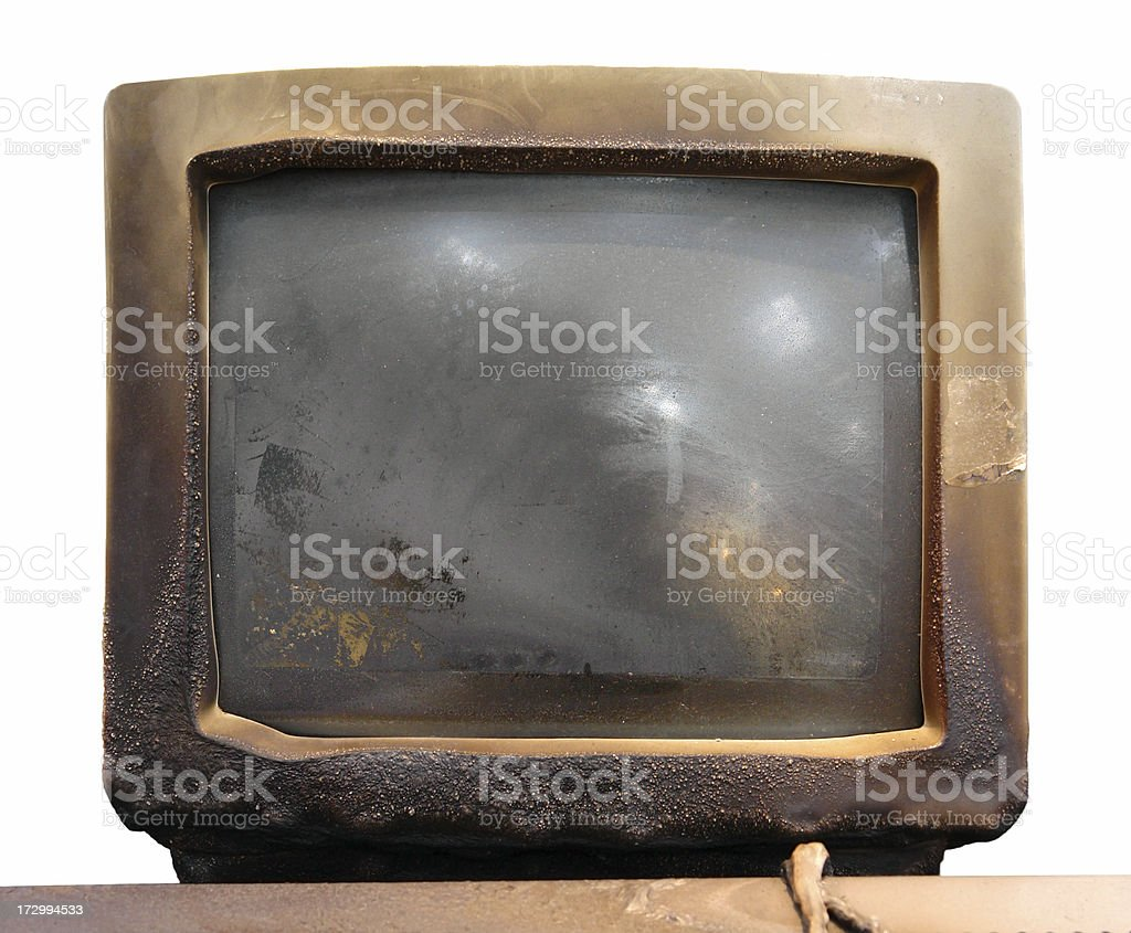 Burned computer display screen stock photo