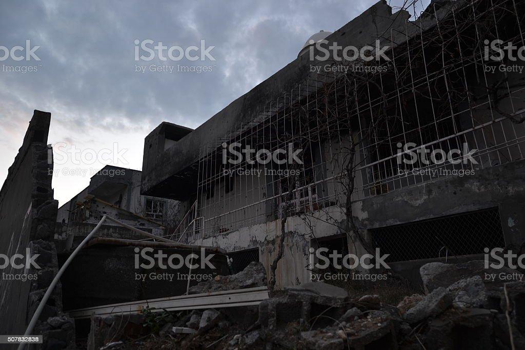 Burned damaged house stock photo