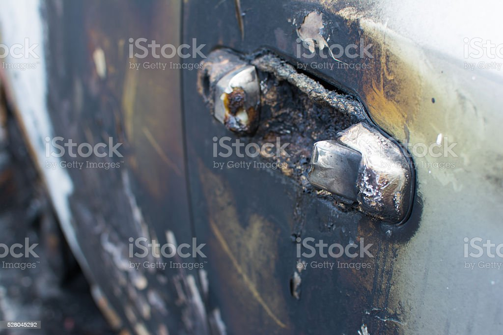 Burned gray car stock photo