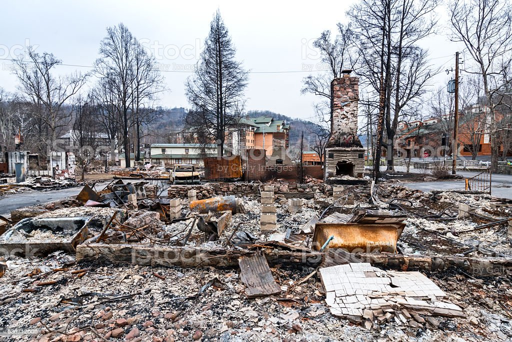 Burned homes after forest fires stock photo