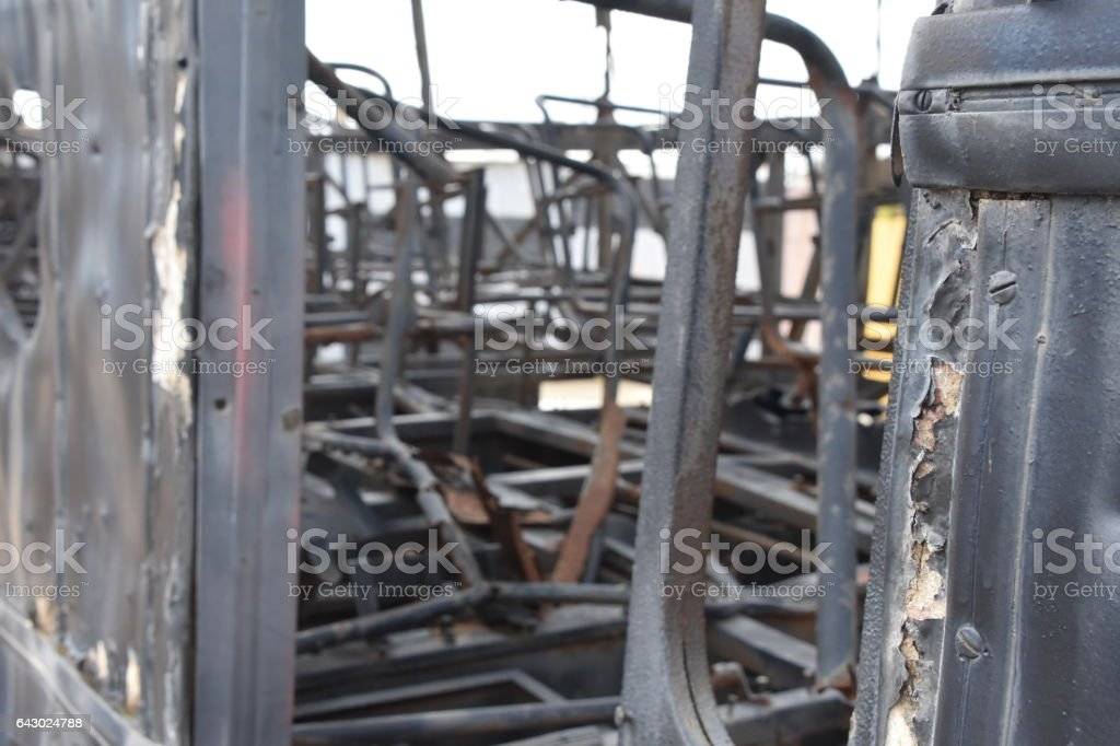 burned Israeli bus. buses that were blown up by terrorists In Israel stock photo