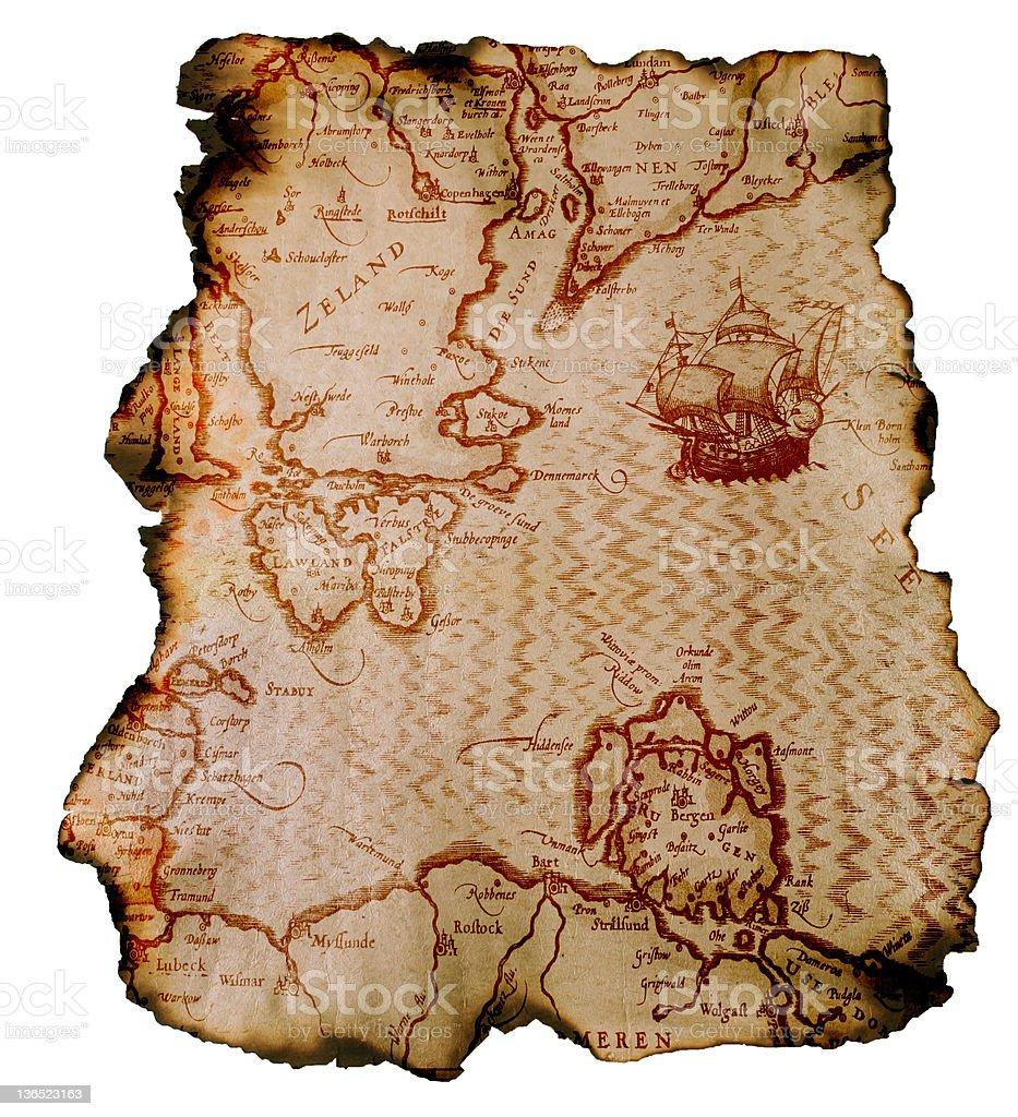 Burned map stock photo