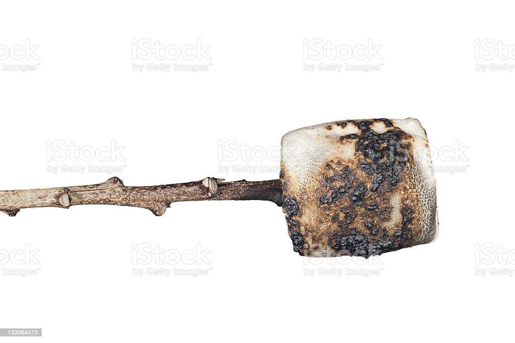 Burned marshmallow isolated on white stock photo