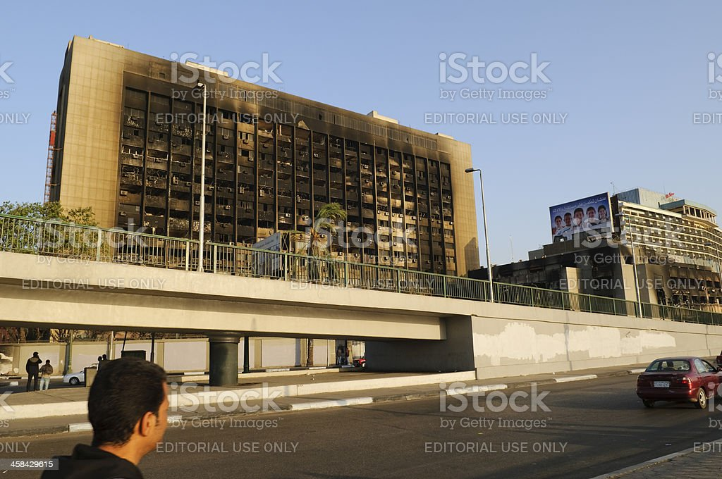 Burned NDP party headquarters in Cairo royalty-free stock photo