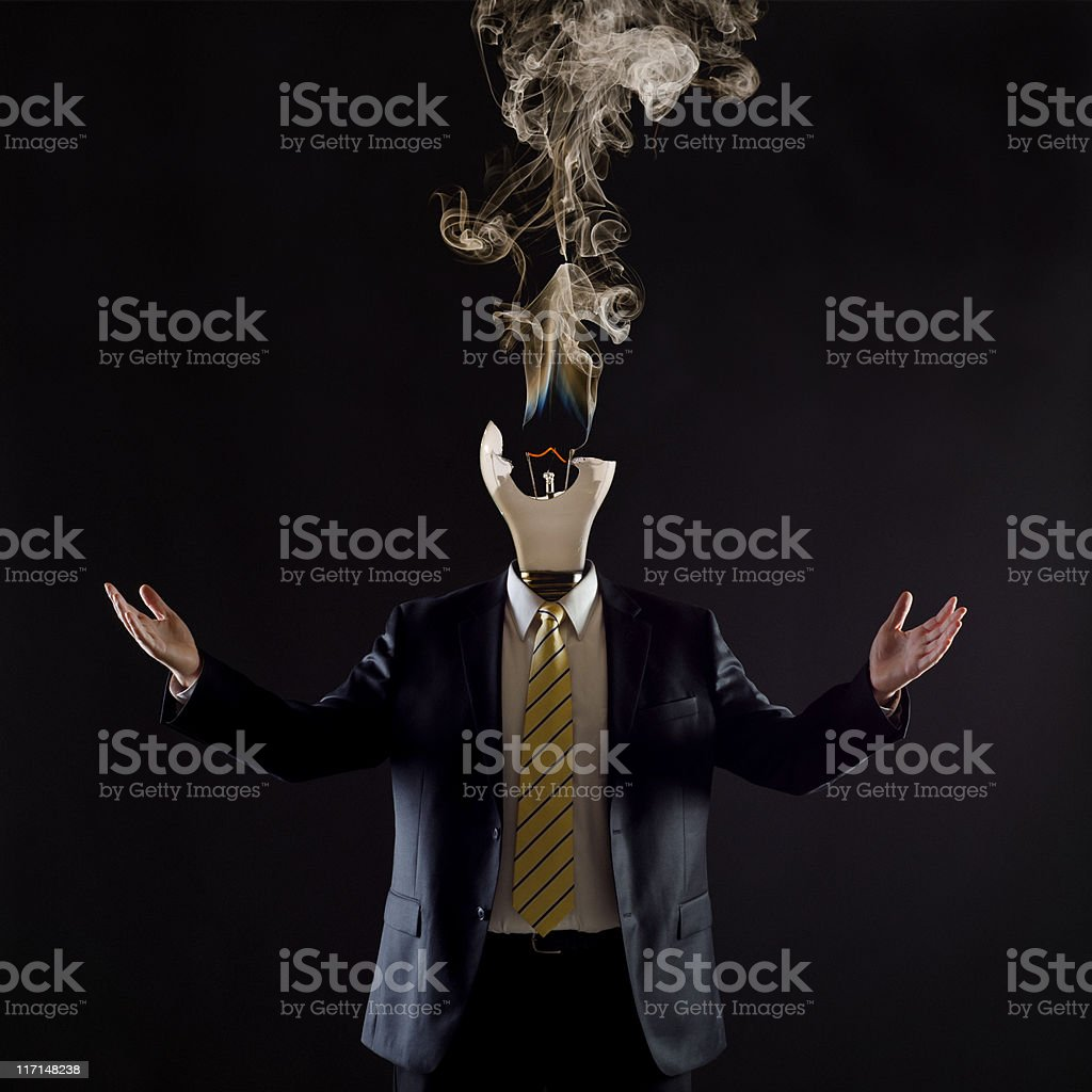 Burned out politician stock photo