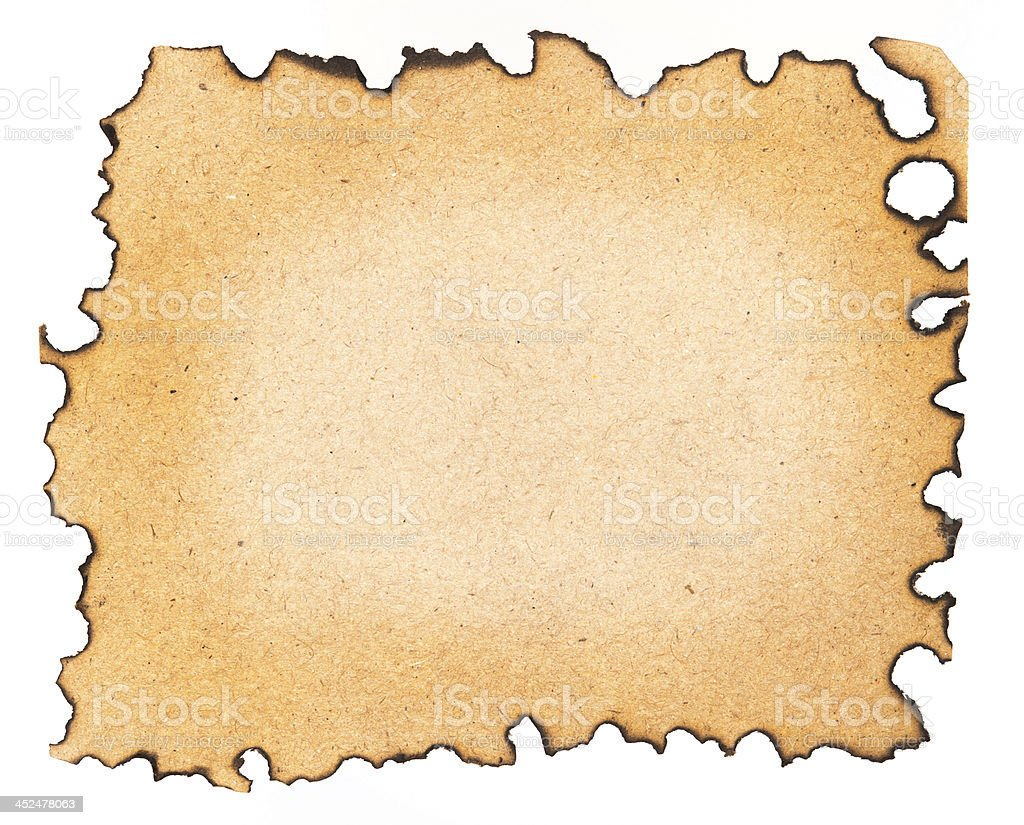 Burned paper isolated on a white background stock photo