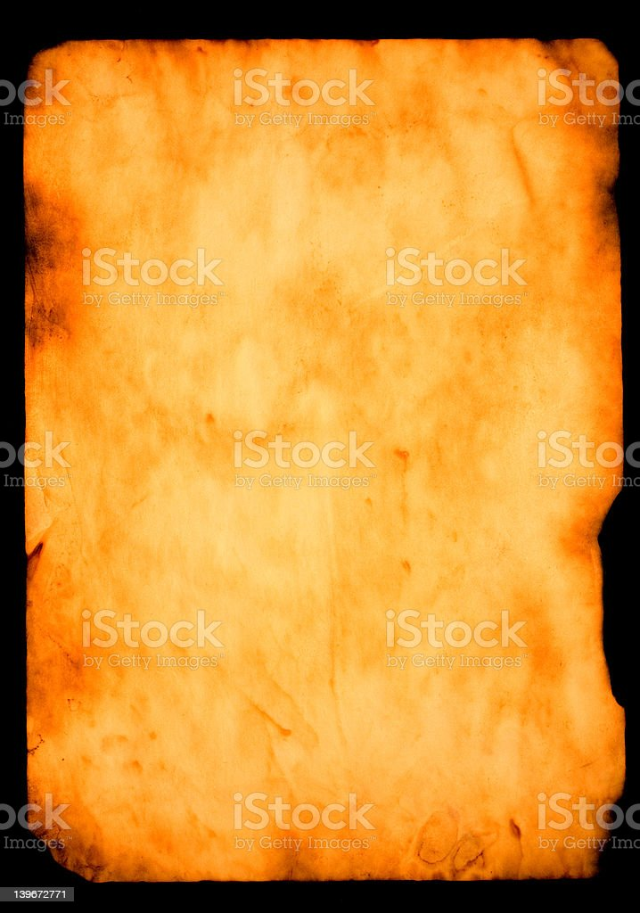 burned paper over black background royalty-free stock photo