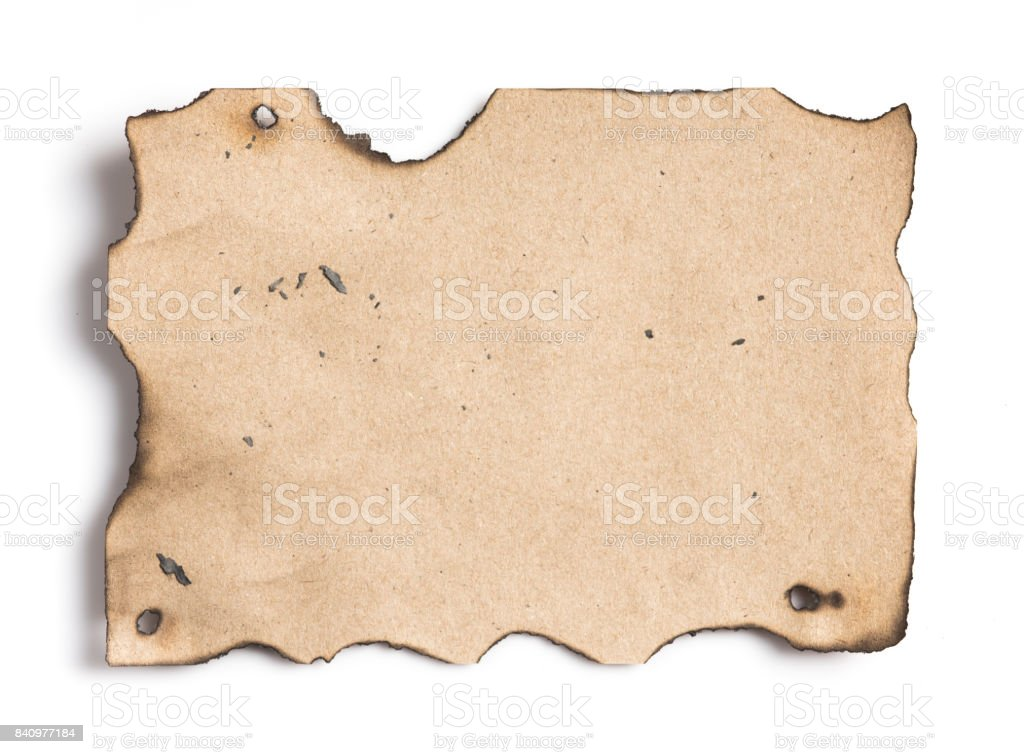 Burned recycled paper pad on white background stock photo