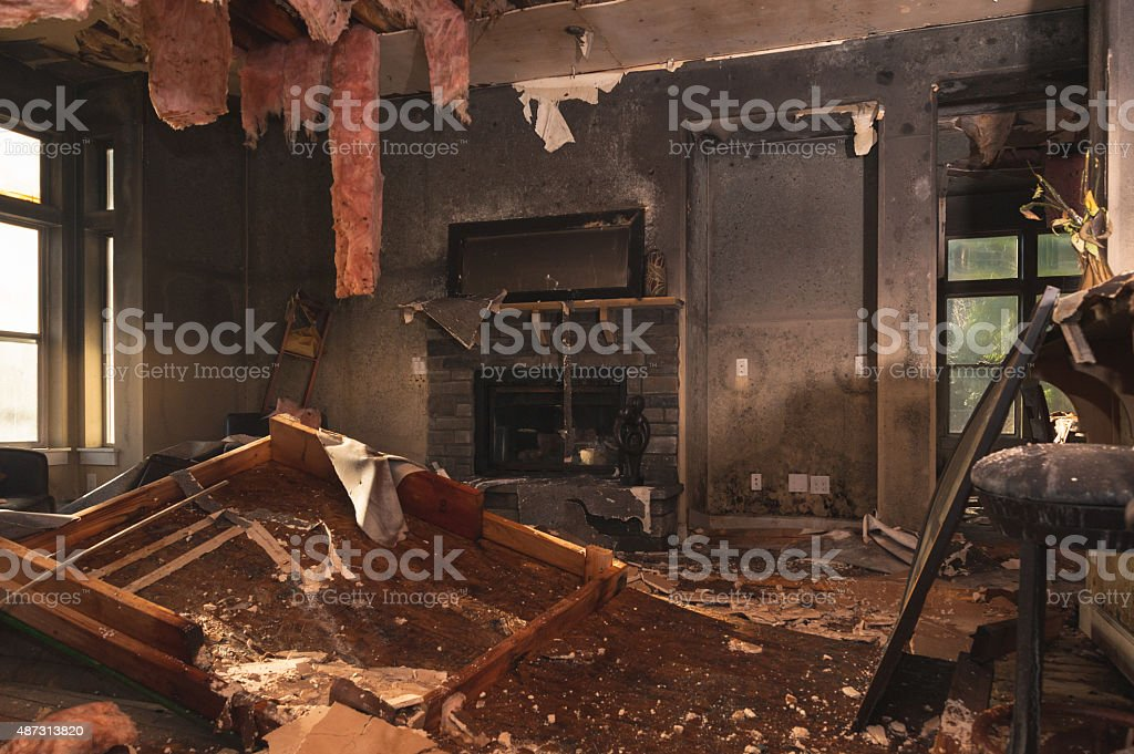 Burned room inside of the house stock photo