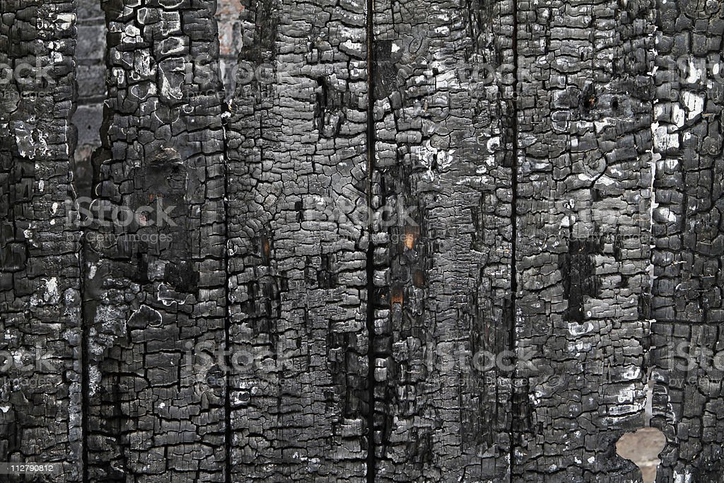 Burned wall of wood plate stock photo