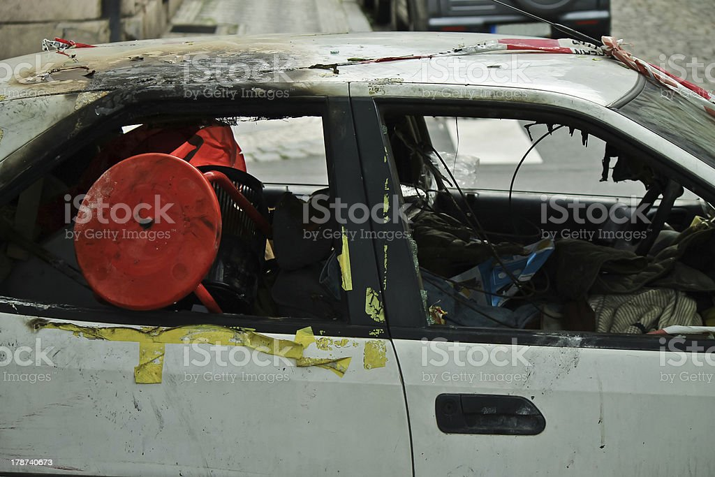 Burned-out car royalty-free stock photo