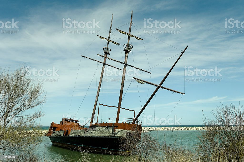 Burned-out 'Pirates ship' royalty-free stock photo