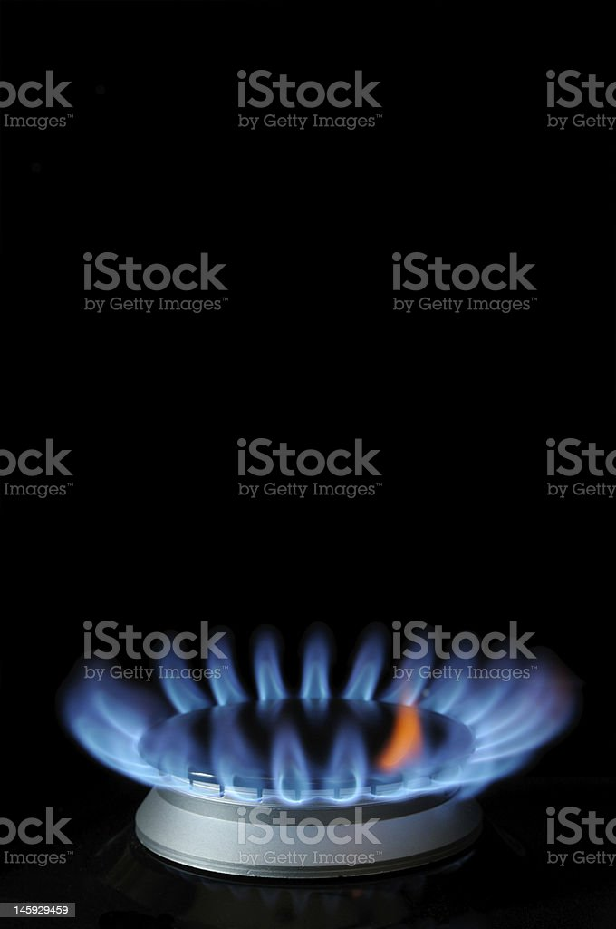 Burner blue and red gas flame royalty-free stock photo