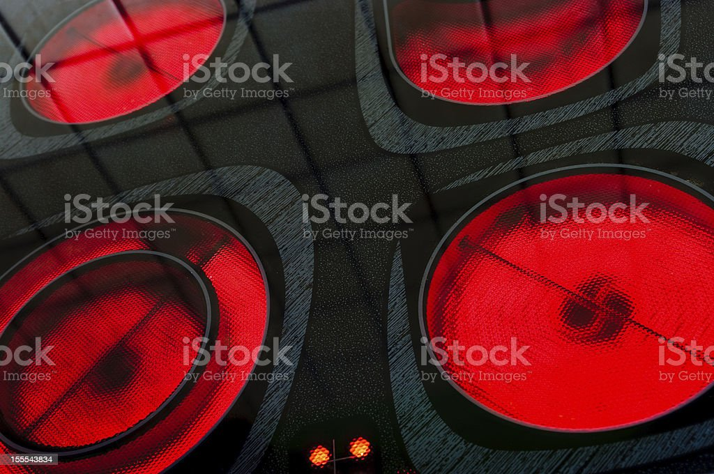 Burners of eletric oven stock photo
