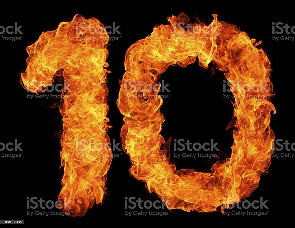 Burning 10 stock photo